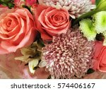bouquet of pink roses and... | Shutterstock . vector #574406167