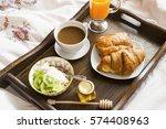 breakfast in bed in wooden tray ... | Shutterstock . vector #574408963