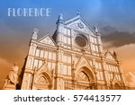 travel postcard with view of... | Shutterstock . vector #574413577