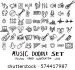 music doodles line vector... | Shutterstock .eps vector #574417987