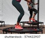 mini trampoline workout  girl... | Shutterstock . vector #574422937