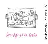 breakfast in bed sketch vector  | Shutterstock .eps vector #574441177
