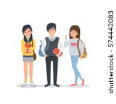 young asian student characters ... | Shutterstock . vector #574442083