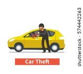 thief steals car. | Shutterstock . vector #574442263