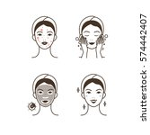 steps how to apply facial mask ... | Shutterstock . vector #574442407