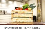 vegetables on table in kitchen  | Shutterstock . vector #574443067