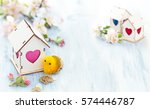 white wood houses with colorful ... | Shutterstock . vector #574446787