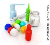 syringe  tablet  pill jar. 3d...   Shutterstock . vector #574467493