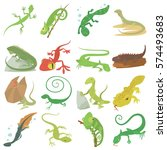 Lizard Type Animals Icons Set....