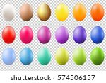 Colorful Eggs Set With Gradien...