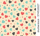 seamless hearts and dots... | Shutterstock .eps vector #574510327