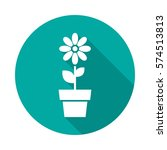 flower in pot circle icon with... | Shutterstock .eps vector #574513813