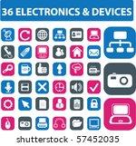 36 electronics buttons. vector | Shutterstock .eps vector #57452035