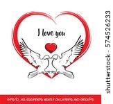 love birds i love you red heart.... | Shutterstock .eps vector #574526233