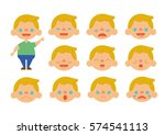 caucasian little blonde boy... | Shutterstock .eps vector #574541113