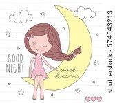 Cute Girl On The Moon Vector...