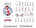 Ready-to-use character set. Young female clerk in formal wear. Different poses and emotions, running, standing, sitting, walking, happy, angry. Full length, front, rear view against white background | Shutterstock vector #574548163