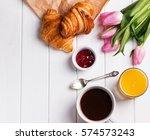 tulips  croissants  coffee ...   Shutterstock . vector #574573243