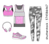 flat fashion sketch   gym... | Shutterstock . vector #574586467