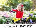 child planting spring flowers... | Shutterstock . vector #574591783