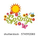 beautiful flowers  bee and sun... | Shutterstock .eps vector #574592083