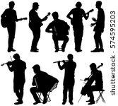 silhouettes street musicians... | Shutterstock . vector #574595203