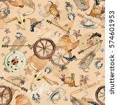 wild west. watercolor seamless... | Shutterstock . vector #574601953