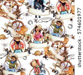 cowboys and cowgirls.... | Shutterstock . vector #574601977