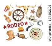rodeo season. watercolor... | Shutterstock . vector #574602103