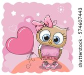 greeting card cute owl girl... | Shutterstock . vector #574607443