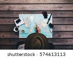 tourist pointing at europe on... | Shutterstock . vector #574613113