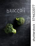 top view photo of broccoli over ... | Shutterstock . vector #574622077