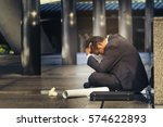 Small photo of Asian businessman feel sad, lonely, worried, depressed, anxiety from jobless employment. Unemployment people rate is high, low hiring employee. Business crisis management resolved by entrepreneur.