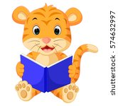 illustration of tiger reading... | Shutterstock . vector #574632997