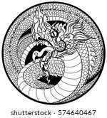 hand drawn thai dragon in... | Shutterstock .eps vector #574640467