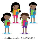collection of cute and diverse... | Shutterstock .eps vector #574650457