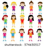 collection of cute and diverse... | Shutterstock .eps vector #574650517