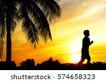 silhouette of people walking or ... | Shutterstock . vector #574658323