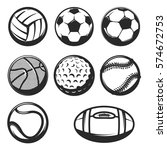 set of sport balls icons. ball... | Shutterstock .eps vector #574672753