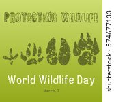 World Wildlife Day background with with animals tracks. Vector illustration for you design, card, banner, poster, calendar or placard template. Holiday Collection.   Shutterstock vector #574677133