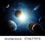 solar system and space objects. ... | Shutterstock . vector #574677973