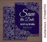 wedding invitation card suite...   Shutterstock .eps vector #574680703