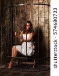 beautiful brunette in white... | Shutterstock . vector #574680733