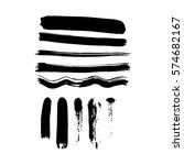 set of black paint  ink brush... | Shutterstock .eps vector #574682167