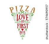 hand drawn pizza sliced shaped... | Shutterstock .eps vector #574690957