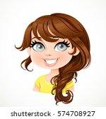 beautiful brunette girl with...   Shutterstock .eps vector #574708927