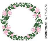 round frame  floral wreath ... | Shutterstock .eps vector #574710073