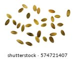 pumpkin seeds isolated on white ... | Shutterstock . vector #574721407