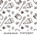 vector honey seamless pattern. | Shutterstock .eps vector #574723057