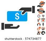 bribe pictograph with bonus... | Shutterstock .eps vector #574734877